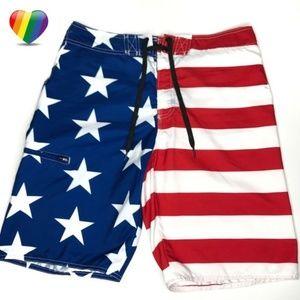 Hang Ten Swim - American Flag Swim Board Shorts A170441